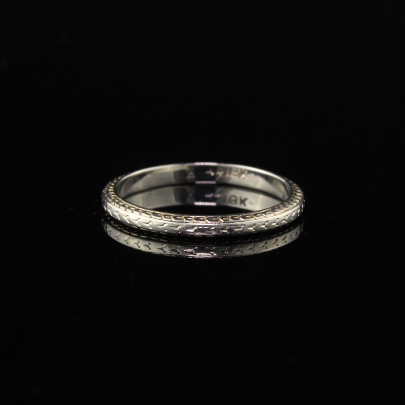 Antique Art Deco 18K White Gold Engraved Wedding Band - Size 5