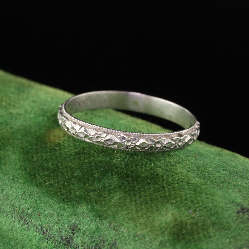 Antique Art Deco Platinum Engraved Wedding Band - Size 6 1/2