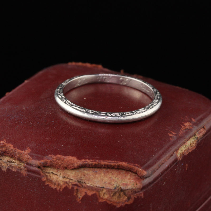 Circa 1927 - Antique Art Deco Platinum Engraved Wedding Band - Size 5 1/4