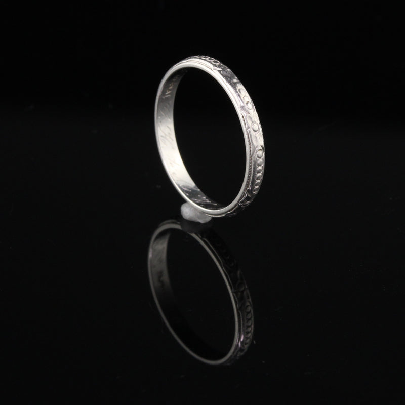 Circa 1939 - Vintage Estate Platinum Engraved Wedding Band - Size 6