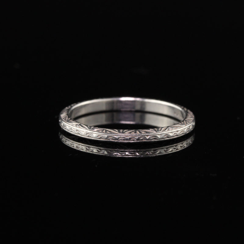Antique Art Deco Engraved Platinum Wedding Band - Size 4 1/2