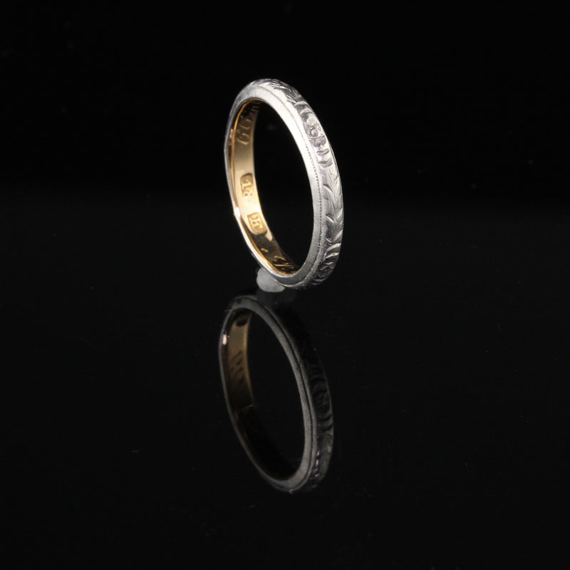 Antique Victorian Engraved Platinum And 18K Yellow Gold Wedding Band - Size 5 1/4