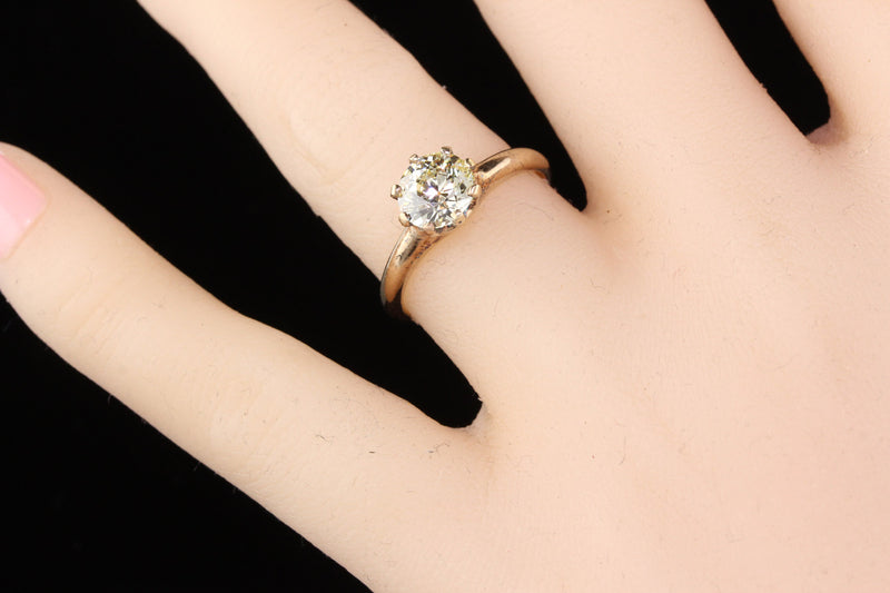 Antique Victorian 14K Yellow Gold Solitaire Diamond Engagement Ring
