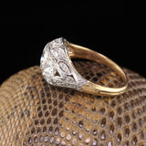 Antique Edwardian 18K Yellow Gold & Platinum 3-Stone Diamond Engagement Ring