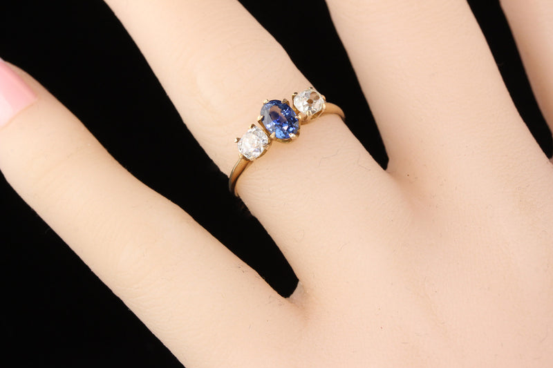 Antique Victorian 10K Yellow Gold Sapphire & Diamond 3-Stone Engagement Ring