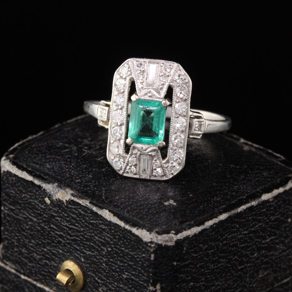 Antique Art Deco Platinum Emerald & Diamond Dinner Ring