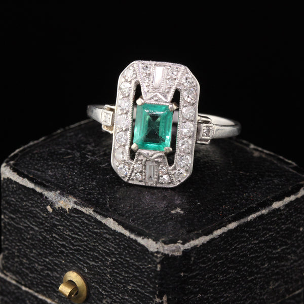 RESERVED Antique Art Deco Platinum Emerald & Diamond Dinner Ring Layaway 2 of 2