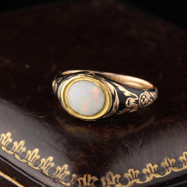 Antique Georgian 18K Yellow Gold Opal & Black Enamel Signet Ring - Size 4 1/4