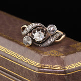 Antique Victorian 14K Yellow Gold & Silver Top 3-Stone Diamond Engagement Ring