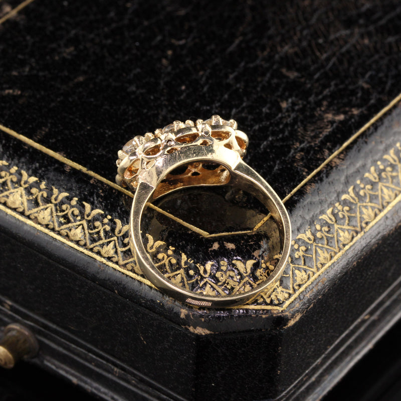 Antique Victorian 14K Yellow Gold Diamond & Black Enamel 3 Stone Engagement Ring