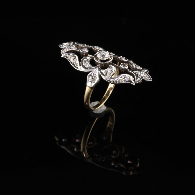 Antique Edwardian 14K Yellow Gold Platinum Top Diamond Shield Ring