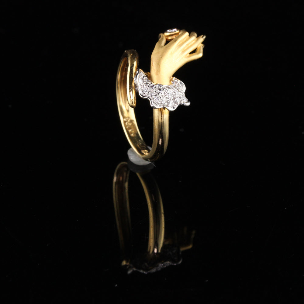 Vintage Carrera y Carrera 18K Yellow Gold & Diamond Hand Ring