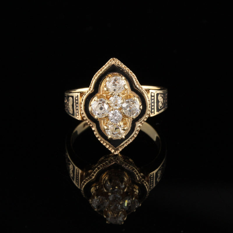 Antique Victorian 14K Yellow Gold Diamond & Black Enamel Shield Ring