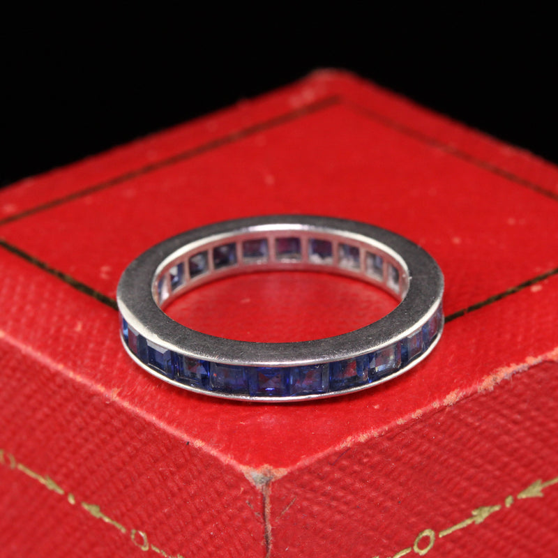Antique Art Deco Platinum Sapphire Eternity Band - Size 5 3/4