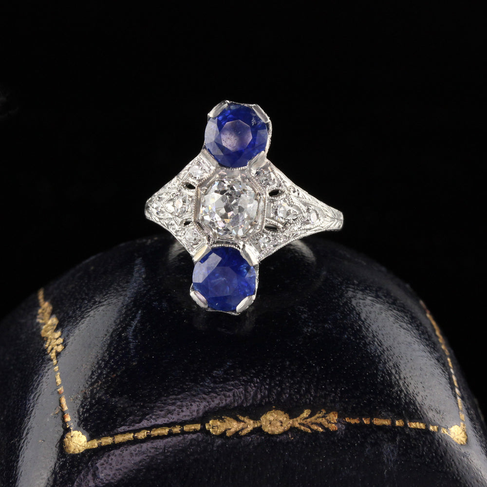 Antique Edwardian Platinum Diamond & Sapphire Shield Ring - Size 5 1/2