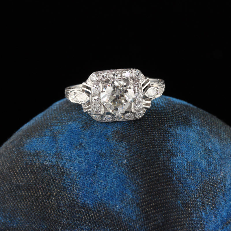 Antique Art Deco Platinum Engagement Ring - Size 6 3/4