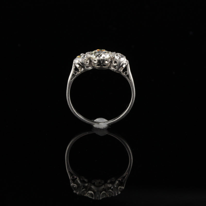 Antique Art Deco Platinum Diamond Engagement Ring - Size 4 3/4