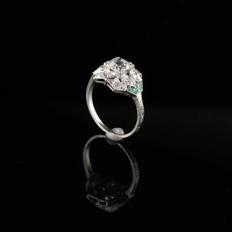 Antique Art Deco Platinum Engagement Ring - Size 7 1/2