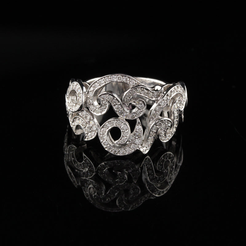 18K White Gold Natan Designer Diamond Ring - Size 7