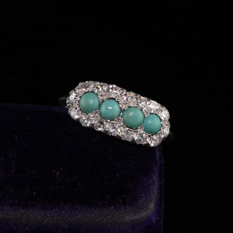 Antique Art Deco Platinum Diamond and Turquoise Ring