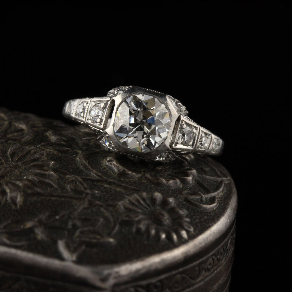 Antique Art Deco Platinum Engagement Ring - Size 5