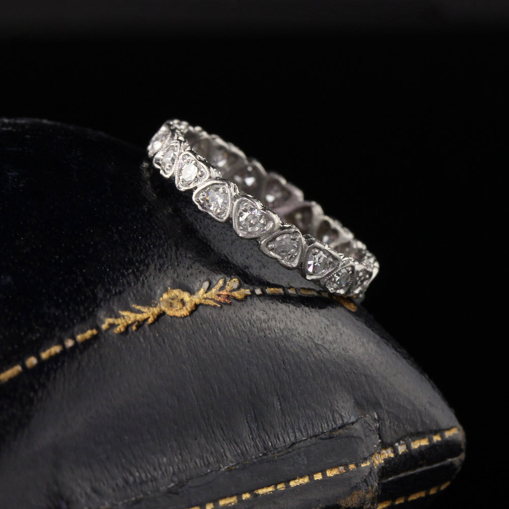 Antique Art Deco Platinum Heart Diamond Eternity Band - Size 5 1/4