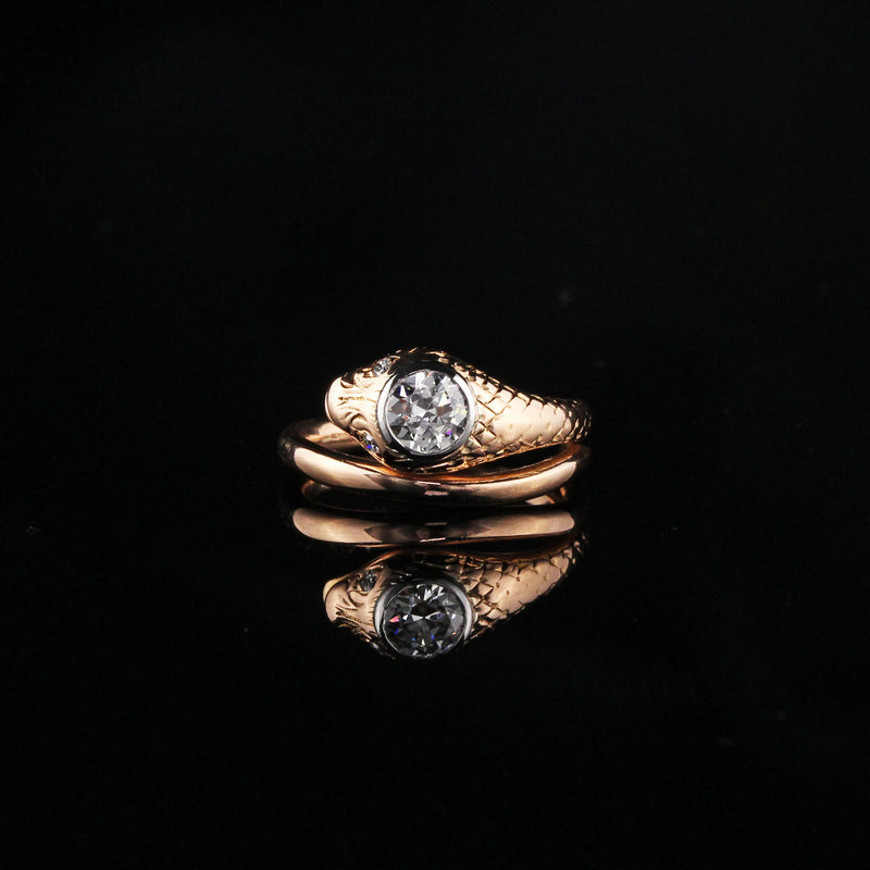 Antique Art Deco 18K Rose Gold Diamond Snake Ring