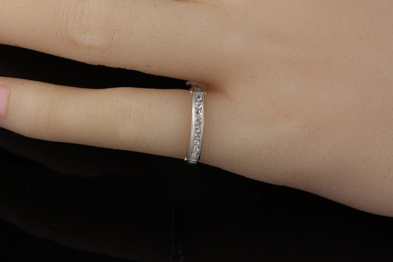 Antique Art Deco Platinum Diamond Wedding Band Ring