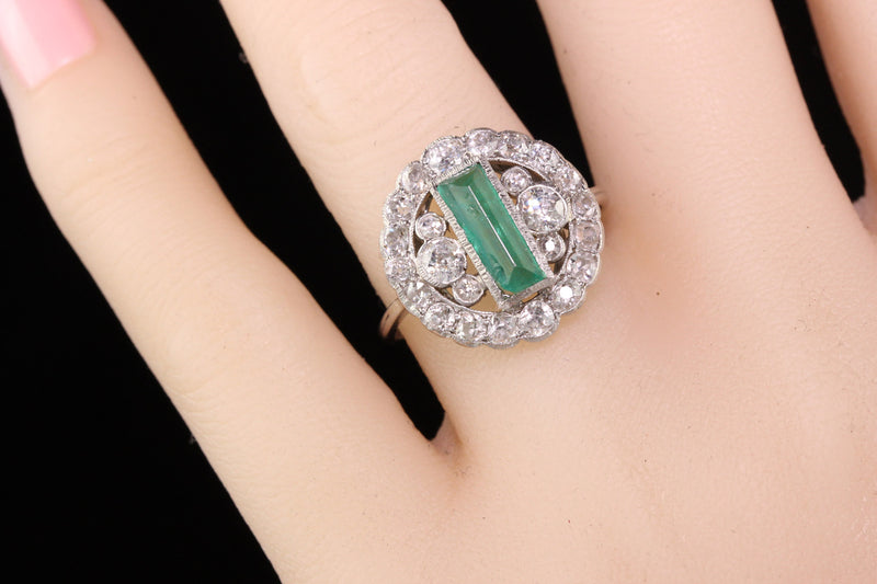 Antique Art Deco Platinum Diamond and Emerald Cocktail Ring
