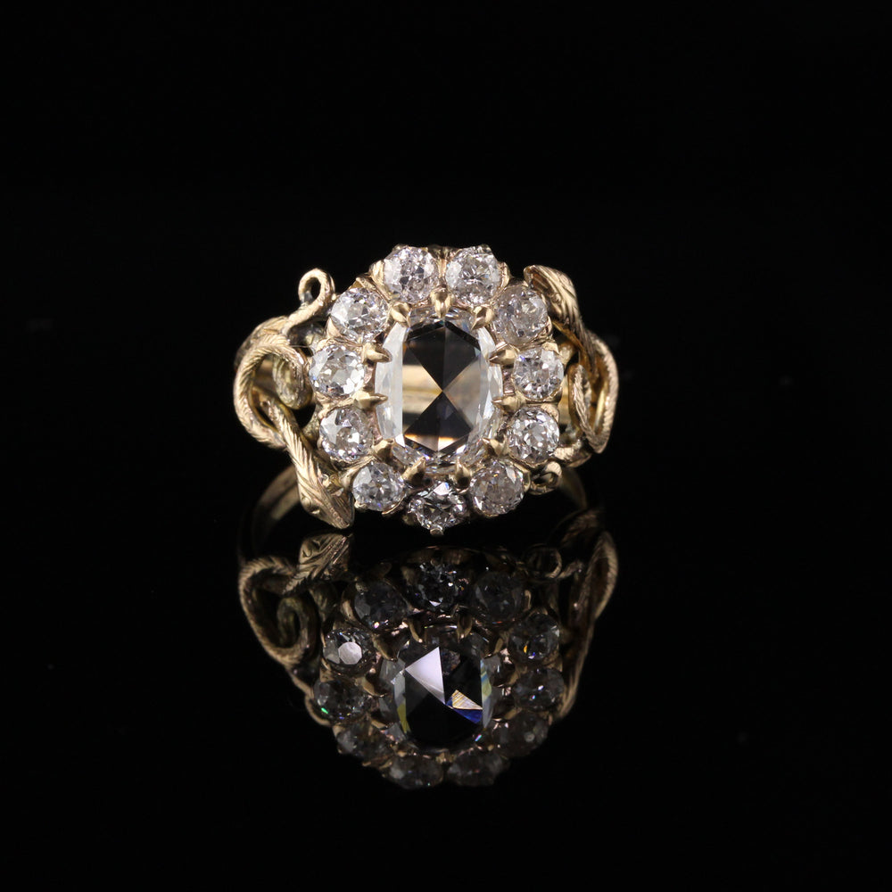RESERVED - Antique Victorian 18K Yellow Gold Rose Cut Diamond Engagement Ring