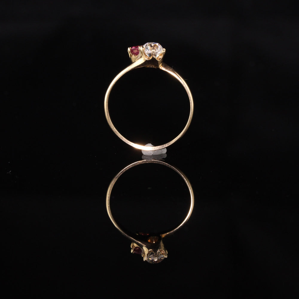 Antique Victorian 14K Yellow Gold Toi Et Moi Diamond and Ruby Ring