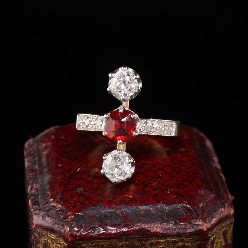 Antique Edwardian French 18K Yellow Gold Diamond and Ruby Three Stone Ring
