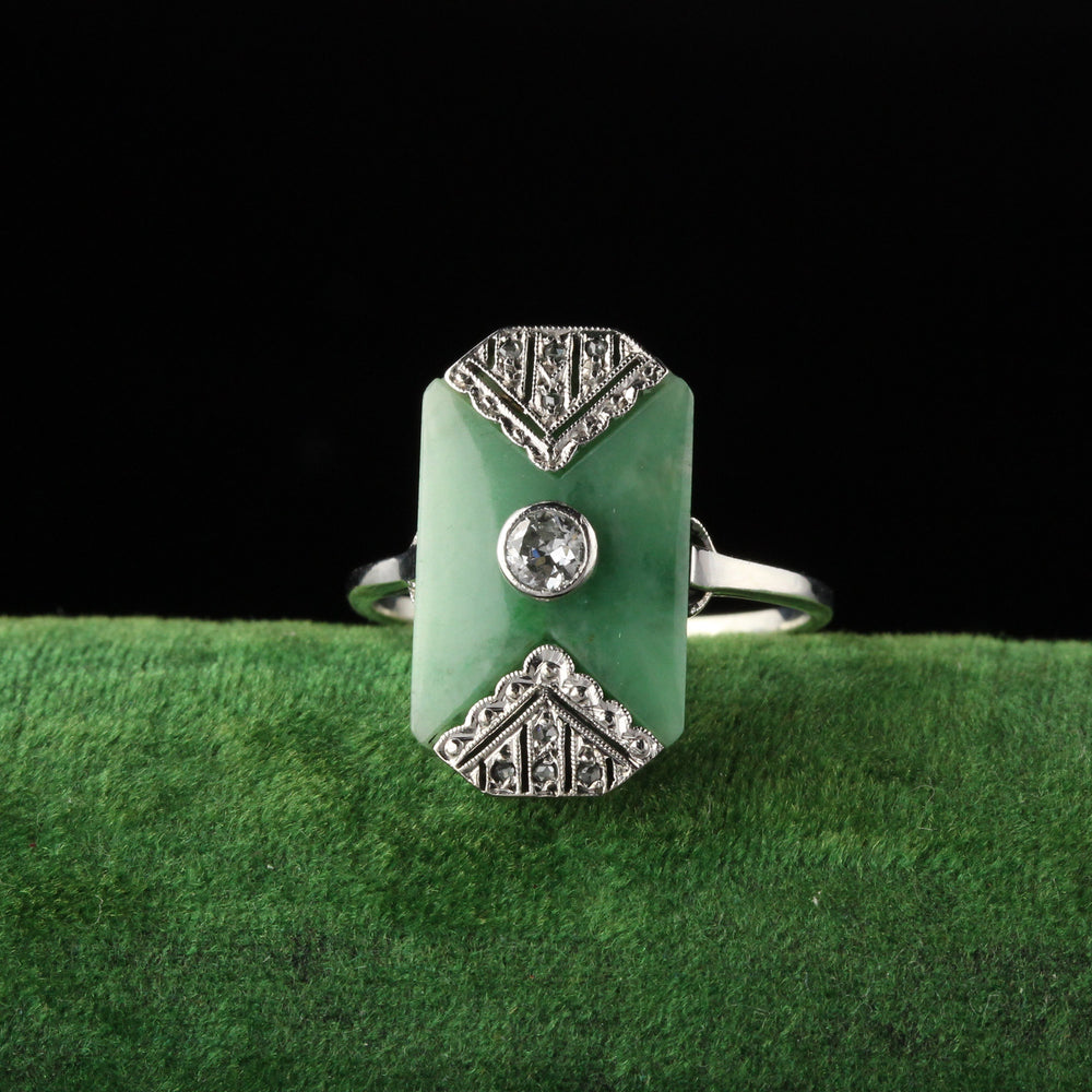 Antique Art Deco 18K White Gold Diamond and Jade Shield Ring