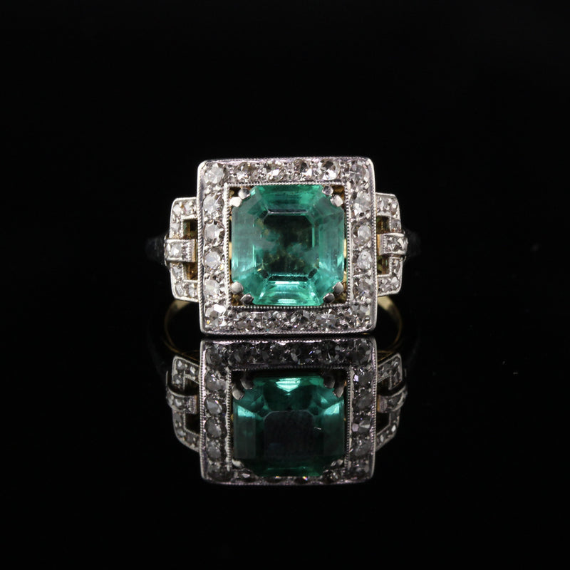 Antique Art Deco Platinum and 18K Yellow Gold Diamond and Emerald Cocktail Ring