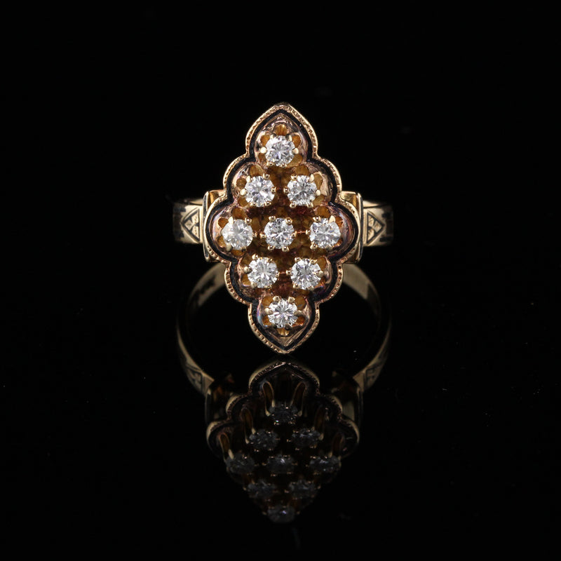Antique Victorian 14K Yellow Gold Diamond Navette Ring