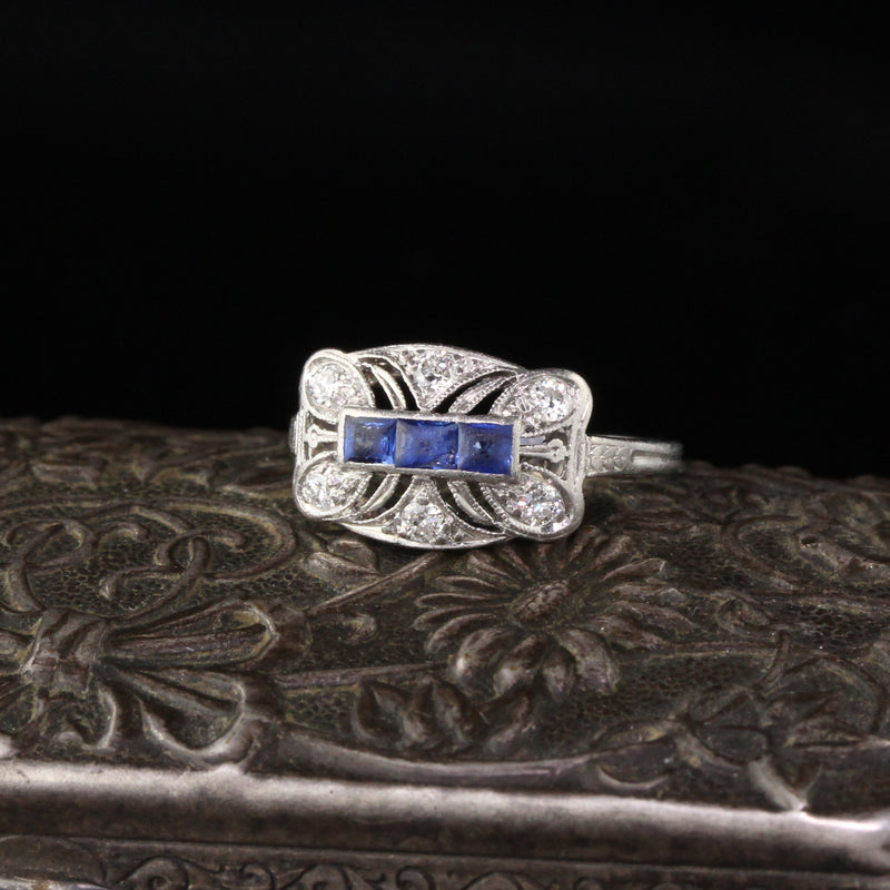 Antique Art Deco Diamond and Sapphire Wedding Band