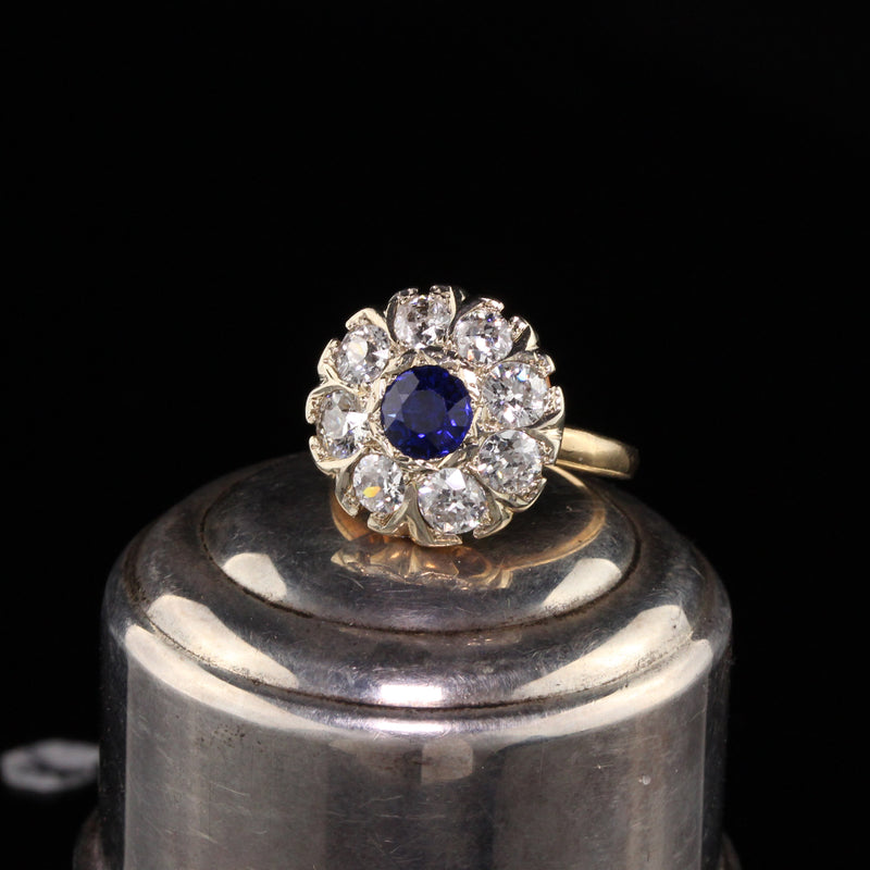 Antique Victorian 14K Yellow Gold Diamond and Sapphire Cluster Ring