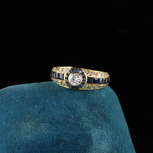 Retro 18K Yellow Gold Diamond and Sapphire Engagement Ring