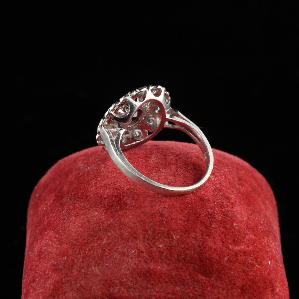 Antique Art Deco Platinum Diamond and Ruby Engagemnt Ring