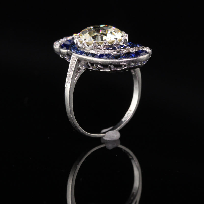 Antique Art Deco Platinum Diamond and Sapphire Engagement Ring
