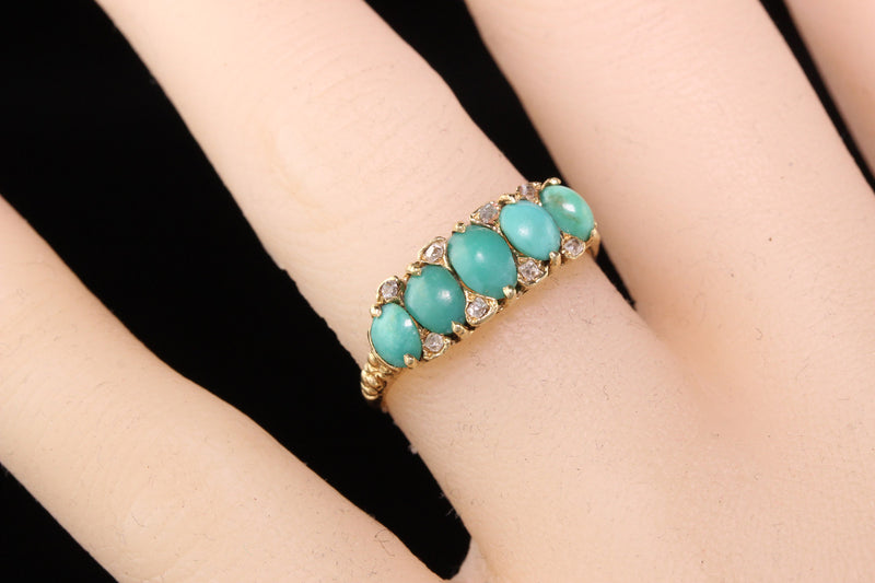 Antique Victorian 14K Yellow Gold Diamond and Turquoise Ring