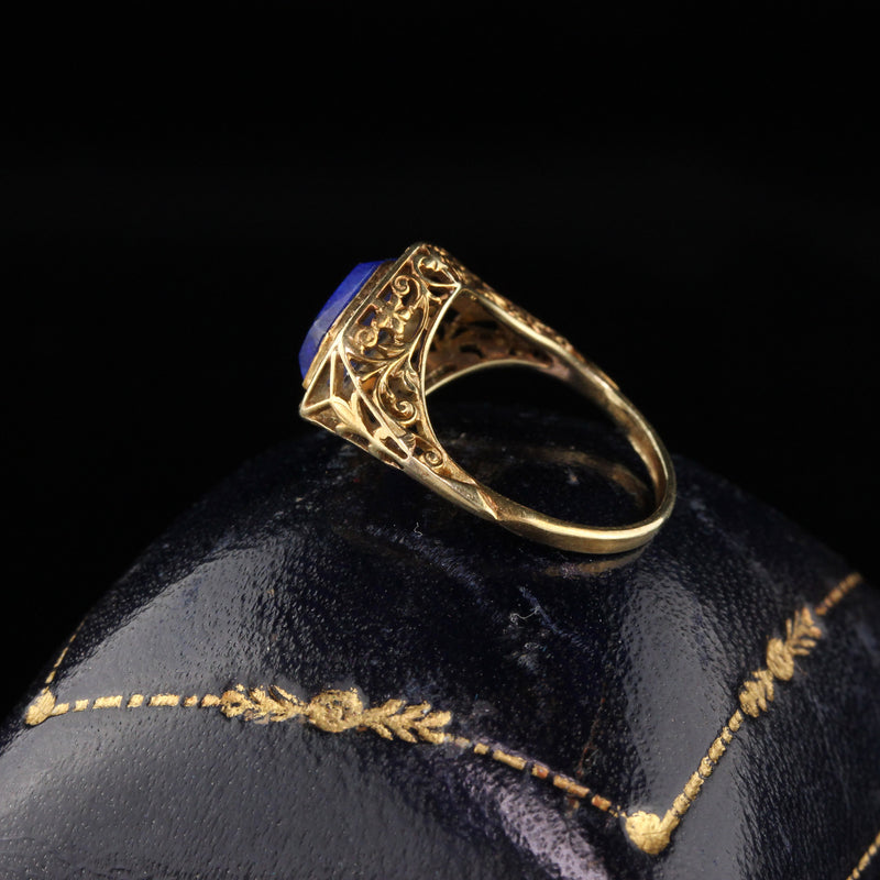 RESERVED - Layaway 2 of 3 - Antique Art Deco 14K Yellow Gold Lapis Lazuli Ring