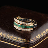 Vintage 18K Rose Gold Diamond Sapphire and Emerald Flip Ring