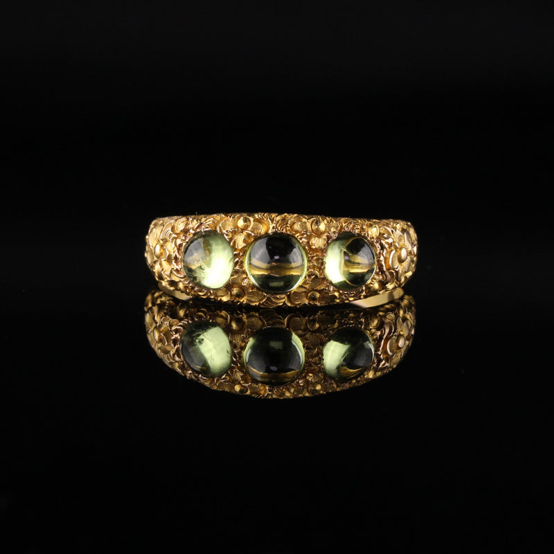 Antique Victorian 14K Yellow Gold Peridot Three Stone Ring - LAYAWAY 3 of 3