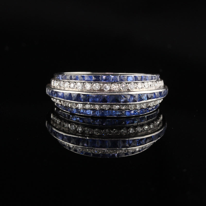 Antique Art Deco Platinum Diamond and Sapphire Band Ring