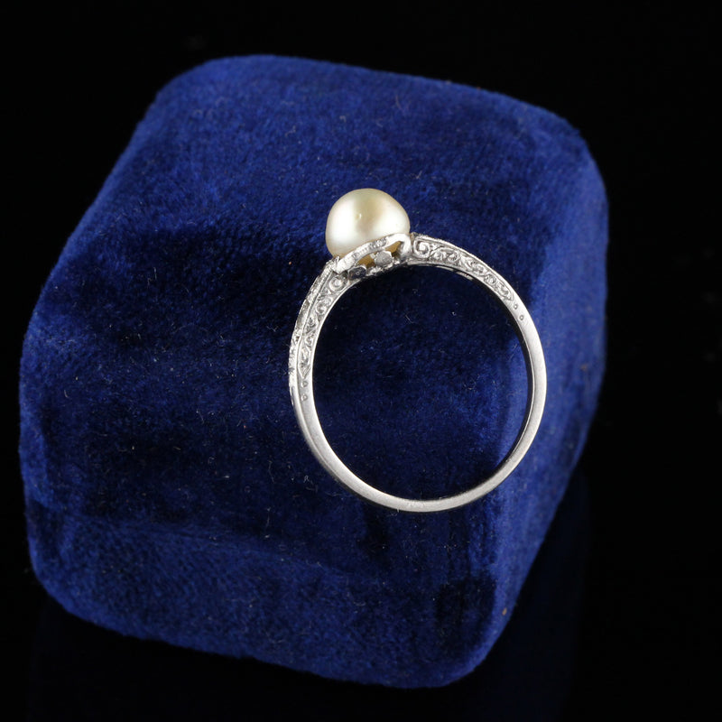 Antique Edwardian Platinum Diamond and Natural Pearl Ring