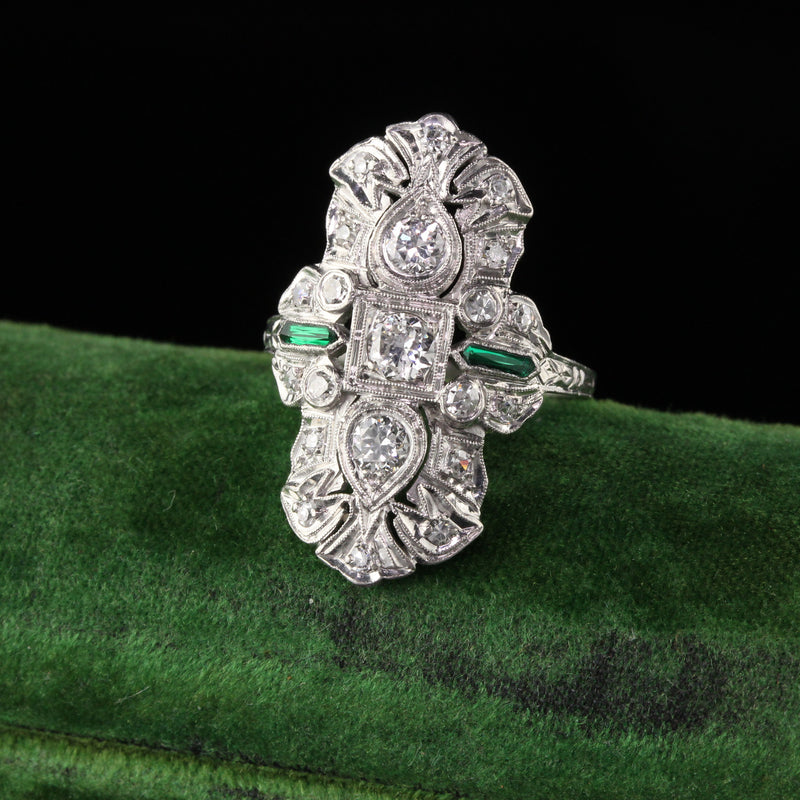 Antique Art Deco Platinum Diamond and Emerald Shield Ring