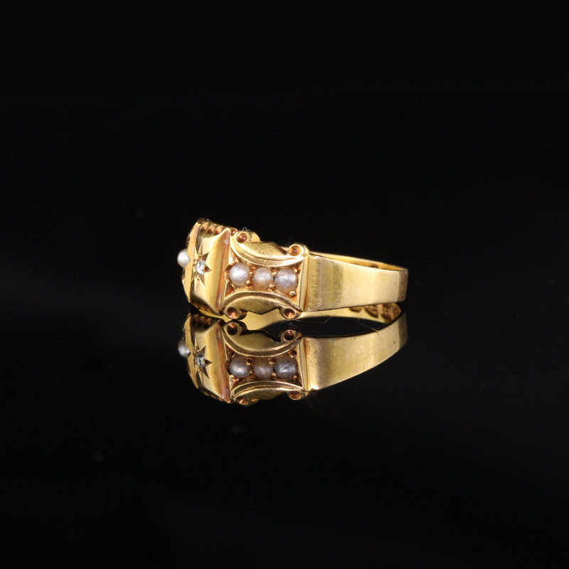 Antique Victorian 18K Yellow Gold Diamond and Pearl Ring