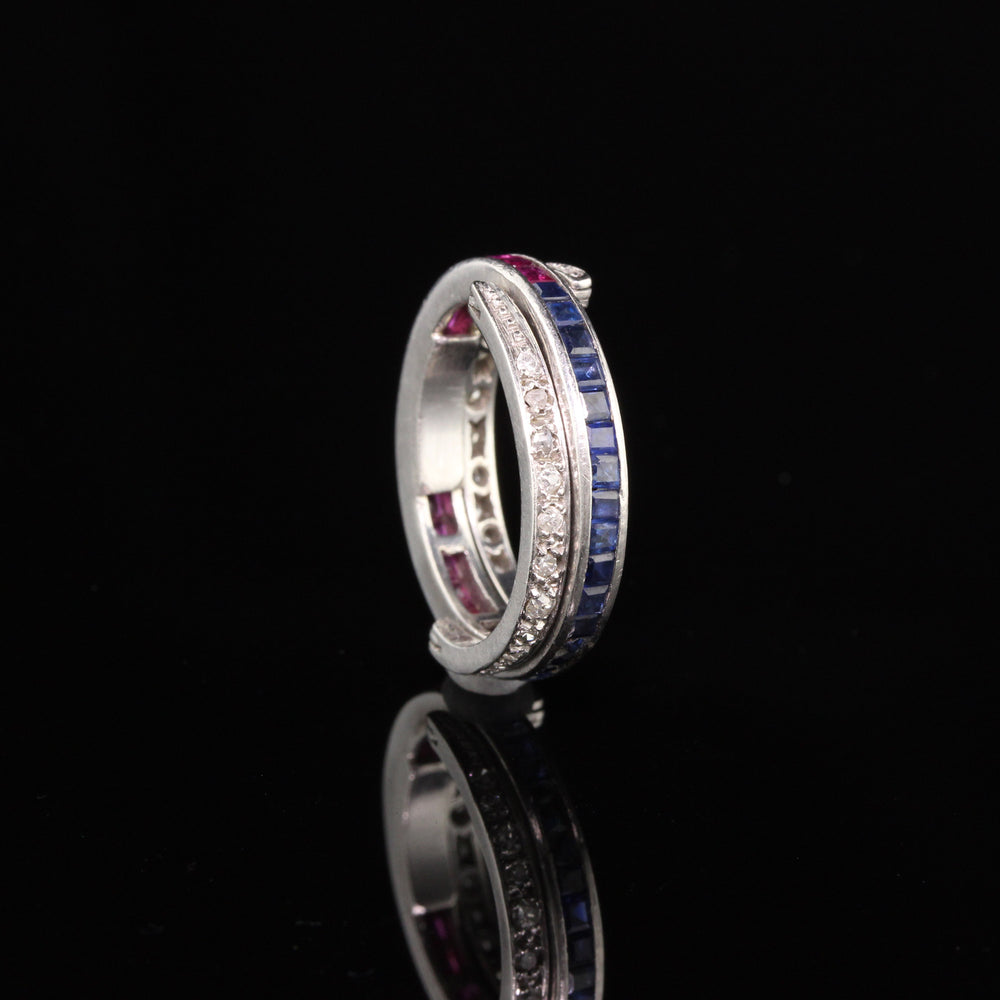 Antique Art Deco Platinum Diamond, Sapphire, and Ruby Flip Ring