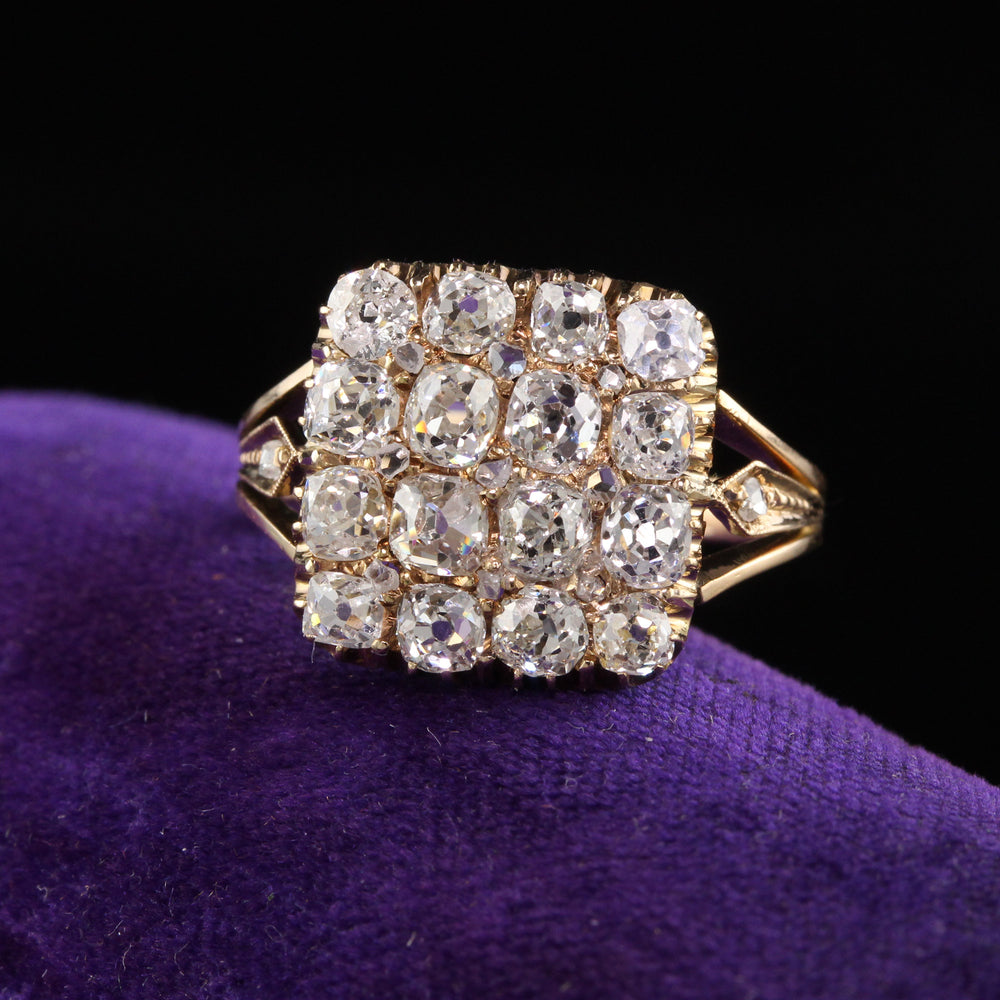 Antique Victorian 18K Yellow Gold Diamond Engagement Ring